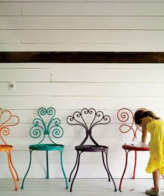 colorful patio chairs.