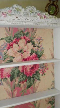 Wallpapered shelves