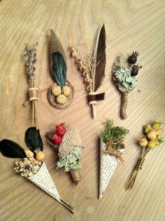 These boutineers are simple and earthy