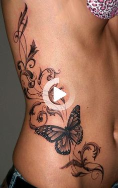 Love for a sleeve but leave butterfly off body tattoos, side stomach tattoos, tummy Side Stomach Tattoos, Tummy Tuck Tattoo, Stomach Tattoos Women, Side Tattoos For Women, Side Body Tattoos, Girl Side Tattoos, Tattoo Girls, Badass Tattoos, Sexy Tattoos