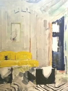 Black cat on Yellow Settee  Encaustic on wood  by Dorota Matys Art & Design