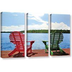 ArtWall Ken Kirsh Dockside 3-Piece Gallery-Wrapped Canvas Set, Size: Oversized 41 inch+, Green
