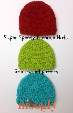 Super Speedy Preemie Hat - free crochet pattern on Mooglyblog.com! Make them with Vanna's Choice - a portion of the proceeds supports St. Jude Children's Research Hospital!