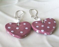 White Polka Dots  on Rose Hearts,  Spotted Earrings, Pink Earrings, Heart Earrings, Fun Earrings is part of aquariann's Valentine Shop Hop at http://blog.aquariann.com/2014/01/handmade-shop-valentines-day-gifts.html