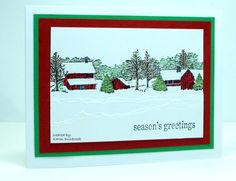 """By Karen Dunbrook. Snow from torn paper. Stamp is """"Winter Homestead"""" (Serendipity Stamps)."""