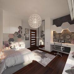 Pokoje dziecięce i młodzieżowe - Living Box Gold Bedroom Decor, Small Room Bedroom, Bedroom Layouts, Bedroom Themes, Bedrooms, Home Room Design, Interior Design Living Room, Inside A House, Girl Bedroom Designs