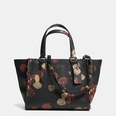 The Mini Crosby Carryall In Floral Print Leather from Coach, love everything in the black winter floral print!