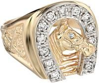 Best Diamond Engagement Rings : Image Description Men's Two-Tone Gold Diamond Horseshoe Ring cttw, H-I Color, Clarity) Mens Emerald Rings, Mens Gold Rings, White Gold Rings, Rings For Men, Black Gold, Horseshoe Ring, Horseshoe Wedding, Horse Ring, Men's Jewelry Rings