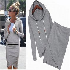 Hooded Bodycon Two Piece Dress