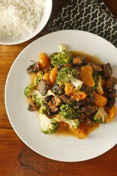 The Chubby Vegetarian: Vegetarian Orange Beef with Portobellos and Satsumas