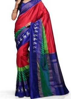 ikat red color saree