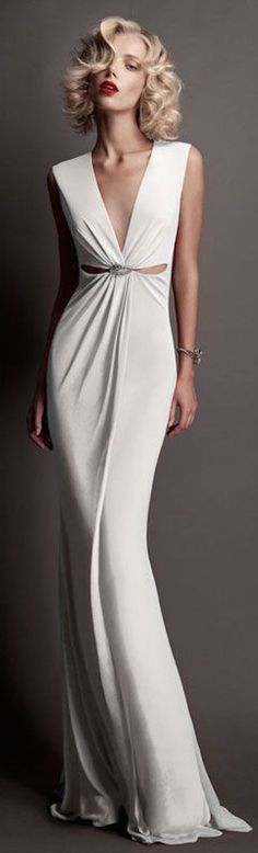 Roberto Cavalli Bridal 2015 white maxi v-neck dress. Fabulous simple and elegant women fashion outfit clothing style apparel @roressclothes closet ideas