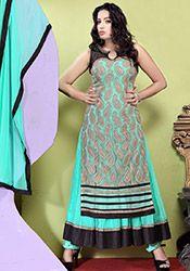 Voguish Turquoise Net Layered Anarkali Suit