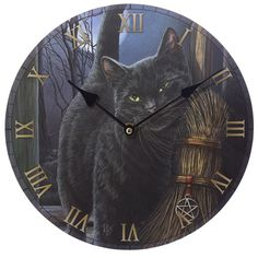 Fantasy Black Cat and Broomstick Design Decorative Wall Clock