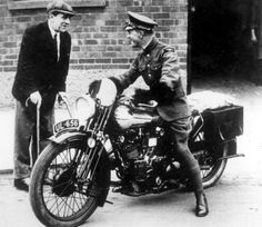 T.E. Lawrence (aka Lawrence of Arabia, or ال لورانس ) on his Brough Superior.