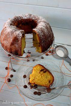 Bizcochos, bundt, bizcocho de naranja y chocolate, bundt de naranja y chocolate, Julia y sus recetas,