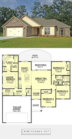 Ranch Style House Plan - 4 Beds 2 Baths 1736 Sq/Ft Plan #430-105 - created via https://pinthemall.net