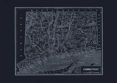 CONNECTICUT STATE MAP Blueprint Map of by EncorePrintSociety