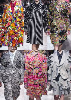 Paris Fashion Week – Autumn/Winter 2013/14 Comme Des Garcons A/W 2013/14 Exuberant Floral Blooms – Regimented Pinstripes – Optical and Sculptured Constructions – Geometric Pattern Mixes – Houndstooth and Prince of Wales Checks – Psychedelic Pattern Plays