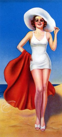 Billy DeVorss vintage pin up girl at the beach  art