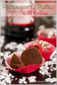 Dark Chocolate Peppermint Kahlua Truffles - Perfect for a New Year's Eve treat!