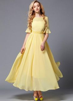 Elegant yellow chiffon maxi dress (yellow evening gown) fabricated from sheer chiffon, featuring lace details above bust line, ruffles on the waist, lantern sleeves, and long flowy skirt with wide hem. Yellow Maxi Dress Outfit, Dress Outfits, Fashion Outfits, Chiffon Maxi Dress, Lace Dress, Sheer Chiffon, Flowy Skirt, Flowy Gown, Maxi Gowns