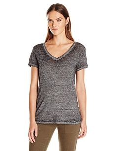 Threads 4 Thought Women's Vintage Wash Short Sleeve Tee, Charcoal, Medium Country Girls, V Neck Tee, Short Sleeve Tee, Fashion Brand, Vintage Ladies, Charcoal, Feminine, Stylish, Tees