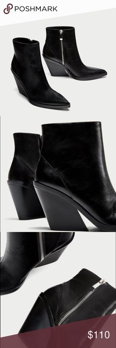 NWT ZARA Chunky Sole High Heel Ankle Boots Black faux leather high heel platform ankle boots with angled heel detail and side zip fastening.  New with tags. Sold out in stores.  From Autumn/Winter 2017 collection.  Heel height of 9.5 cm. / 3.7″  EU size 40, US 9 Zara Shoes Ankle Boots & Booties