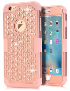 1660a5de56 IPhone 6s Bling Case TOPSKY Shock Absorption Rose Gold Bling Iphone 6 Case  Armor  TOPSKY