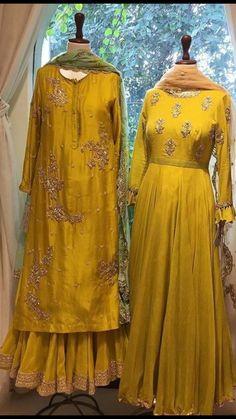 Dresses for Haldi ceremony ❤ Pakistani Bridal Dresses, Pakistani Dress Design, Pakistani Outfits, Indian Outfits, Mehendi Outfits, Punjabi Wedding, Indian Clothes, Bridal Lehenga, Anarkali Dress