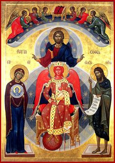 Commemorated on September 8 The Icon of Sophia, the Wisdom of God, occupies an unique place in the Russian Orthodox Church. On the icon is depicted the Theotokos, and the Hypostatic Wisdom, the Son of God incarnate of Her. Byzantine Icons, Byzantine Art, Religious Icons, Religious Art, Rembrandt, Silence, Russian Icons, Russian Orthodox, Hagia Sophia