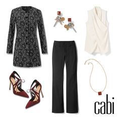 """The gorgeous New Release """"Lacy Coat"""", paired with the Top Notch trouser and Wrap Around Top. jeanettemurphey.cabionline.com"""