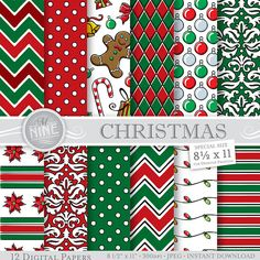 CHRISTMAS Digital Paper Downloads / Printable Holiday Patterns