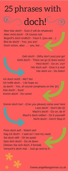 "phrases with ""doch"" German vocabulary - 25 phrases with doch!German vocabulary - 25 phrases with doch! Study German, German English, Learn English, Learn French, German Grammar, German Words, German Language Learning, Language Study, Dual Language"
