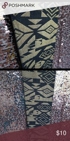 Selling this Black and gold Aztec printed leggings on Poshmark! My username is…