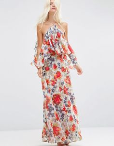 Image 1 ofASOS Beautiful Floral Ruffle Front Cold Shoulder Maxi Dress