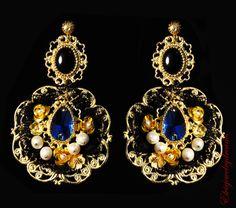 Blue Baroque Dolce Earrings Swarovski Agate by Elviejewelrydreams