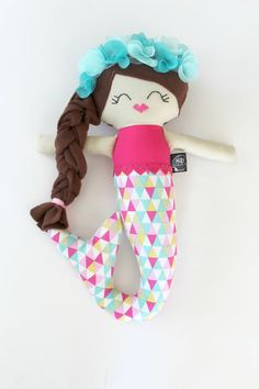 Nora the mermaid plush handmade rag doll by stapleydolls on Etsy y#stapleydolls #fabricdoll #handmadedoll #cutedoll #plushdoll #doll #dolls #clothdoll  #mermaid #mermaidoll