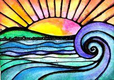 Mi horizonte se trata de una impresión de mi pintura que he creado con Windsor y Newton acuarela, tinta de tinta Sakura y Sakura colorido gel pens. Está impreso en papel HP premium lustre suave con Epson tinta archival (dura 90 años)... con calidad y precioso color... Gracias por
