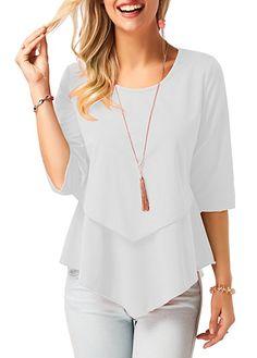 75efed977 Dellukee Blouses for Women Elegant 2018 Ruffle Flowy Short Sleeve Tunic Tops  Loose Shirts Imported Soft