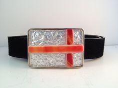 Fused Glass Belt Buckle, cross