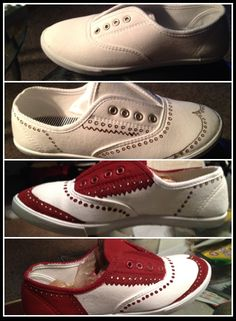 Saddle shoes make red and white ones from basic sneakers !