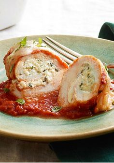 Italian Five-Cheese Chicken Roll-Ups -- With little more than spaghetti sauce, cream cheese and KRAFT Finely Shredded Italian Five Cheese Blend, these chicken roll-ups are super easy to prepare.