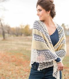 This shawl is all about the contrast between two very different fibers-slick, firm linen and soft, fluffy mohair. Finished Size: 67
