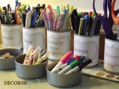 Cans for pens by Judy Richardson
