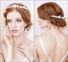 Justine M Couture Bridal Headpieces. Amalie, stunning, classic & versatile crystal headband expresses glamour & Old World Charm. A fabulous back piece as well.