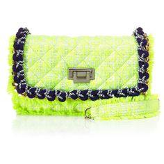 MSGM Sport Tweed Shoulder Pochette ($835) ❤ liked on Polyvore featuring bags, handbags, shoulder bags, neon handbags, chain strap handbag, tweed purse, embroidered handbags and green handbags