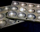 Vintage Muffin Tins, Two Muffin Pans, 12 Muffin Tins, Cottage Chic, Kitchenalia