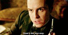 SHERLOCK (BBC) ~ Andrew Scott as Jim Moriarty in the pre-Season 4 special, SHERLOCK: THE ABOMINABLE BRIDE. [GIF]