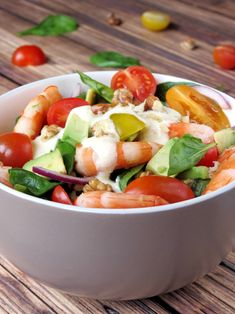 Shrimp Avocado Salad With Yogurt Dressing | YummyAddiction.com